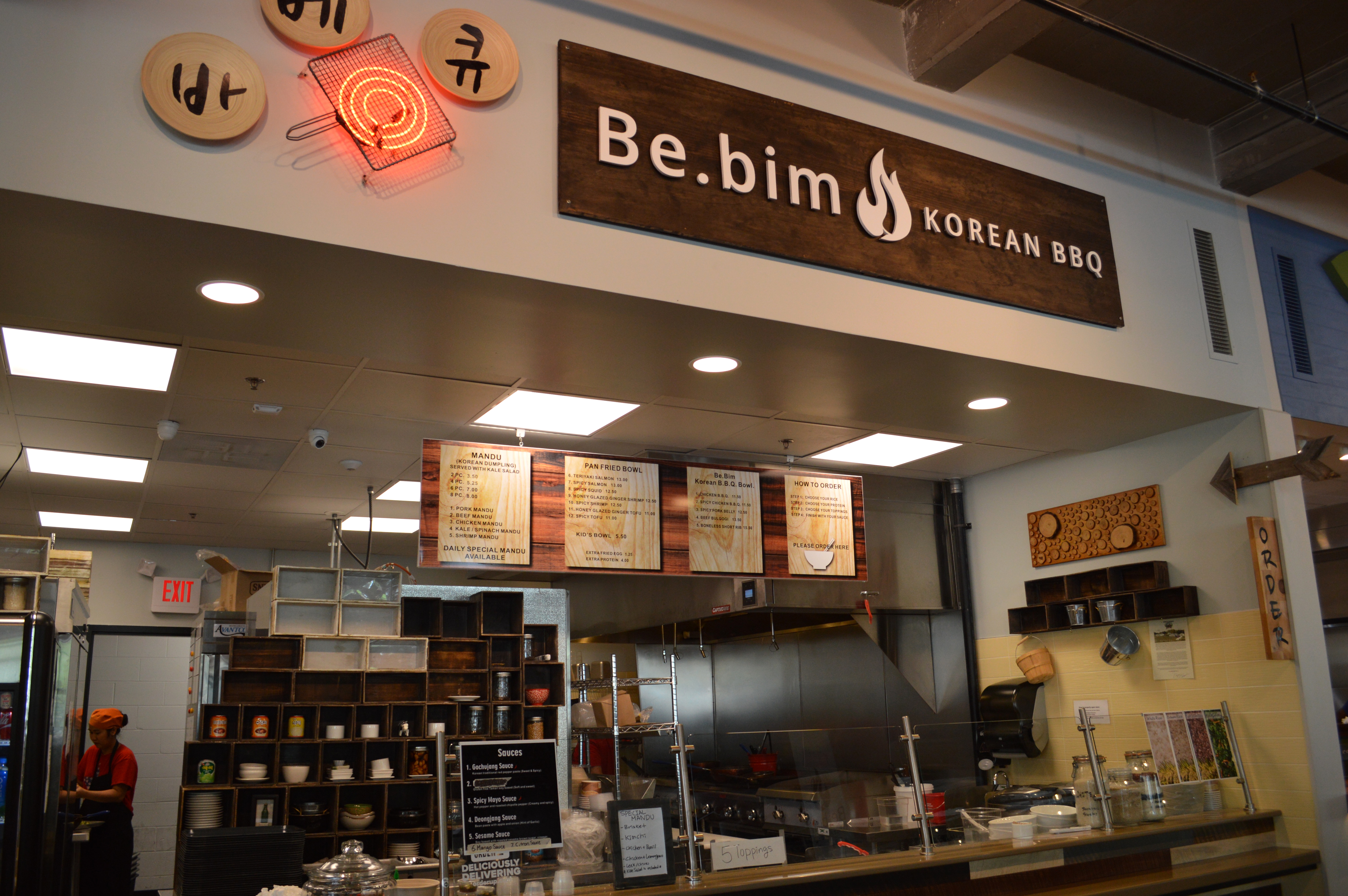 Be.bim, a Chipotle-style Korean barbecue stall that sells rice bowls and other small plates like dumplings.